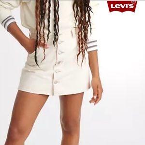 LEVI'S Button Front Denim Cream Mini Skirt NWT s30